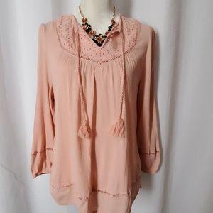 Indigo boho blouse size medium. EUC